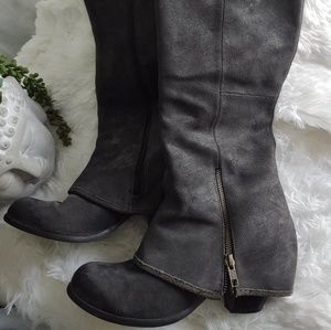 Fergie Ledger Too Charcoal Leather Boots